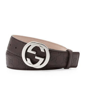 Interlocking G Belt, Chocolate