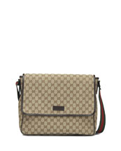 Gucci Canvas Flap Messenger, Beige/Ebony