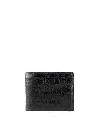 Crocodile Bi-Fold Wallet, Black