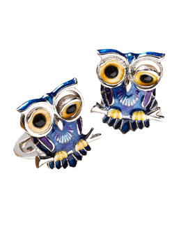 Jan Leslie Winking Owl Cuff Links, Blue