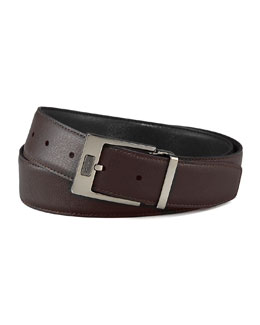 Salvatore Ferragamo Pebbled Reversible Leather Belt