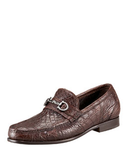 Salvatore Ferragamo Crocodile Bit Loafer, Brown