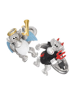 Jan Leslie Devil & Angel Monkey Cuff Links