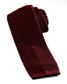 Knit Silk Tie, Dark Red