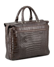 Santiago Gonzalez Zip-Top Crocodile Briefcase, Matte Brown