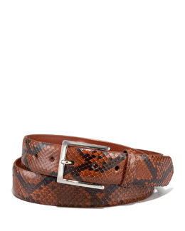 W.Kleinberg Glazed Python Belt, Brown
