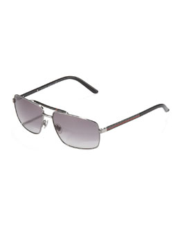 Gucci Web Navigator Sunglasses, Ruthenium
