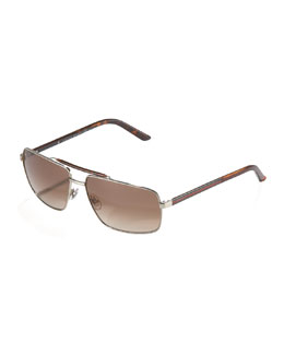 Gucci Web Navigator Sunglasses, Light Gold