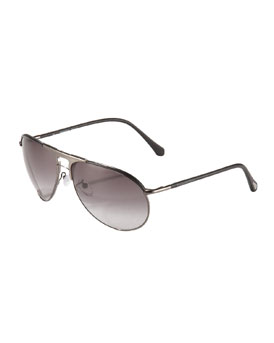 Ermenegildo Zegna Leather-Arm Aviator Sunglasses