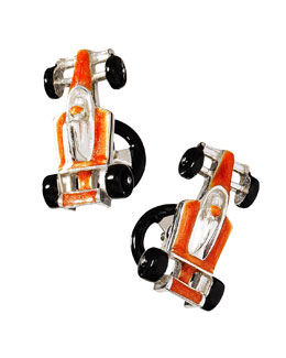 Jan Leslie Race Car Cuff Links, Orange
