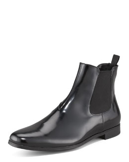 Prada Spazzolato Ankle Boot with Goring