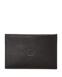 Salvatore Ferragamo Apollo Card Case, Black