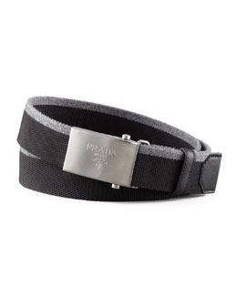 Prada Nylon & Wool Logo Belt