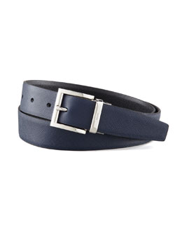 Prada Saffiano Leather Reversible Belt, Black/Navy Blue