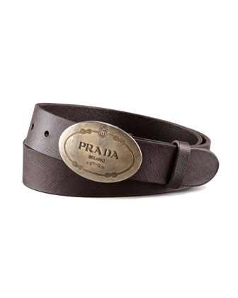 Saffiano Leather Belt, Brown