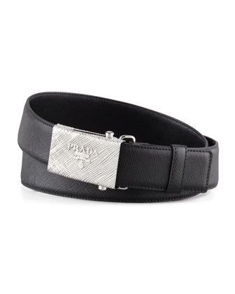 Printed Buckle Saffiano Leather Belt, Black