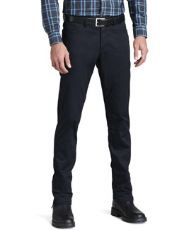 Theory Slim Five-Pocket Twill Pants, Eclipse