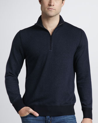 Roadster Half-Zip Cashmere Sweater, Navy