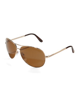 Tom Ford Charles Polarized Aviator Sunglasses, Rose Gold