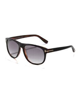 Tom Ford Olivier Plastic Sunglasses, Black/Horn
