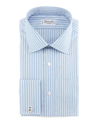 Striped French-Cuff Dress Shirt, Blue/White