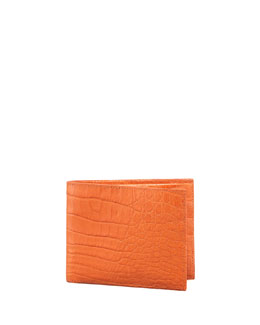 Santiago Gonzalez Crocodile Wallet, Orange