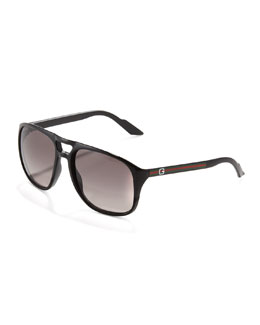 Gucci Web-Arm Enamel Aviator Sunglasses, Black