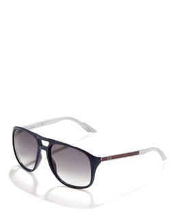 Gucci Plastic Aviator Sunglasses, Blue