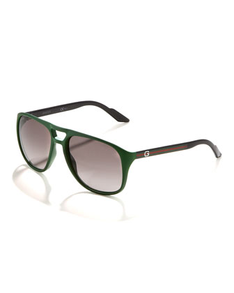Plastic Aviator Sunglasses, Green