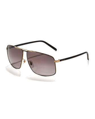 Metal Logo Aviator Sunglasses, Black