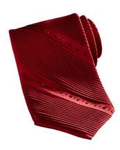 Stefano Ricci Pleated Crystal Tie, Red