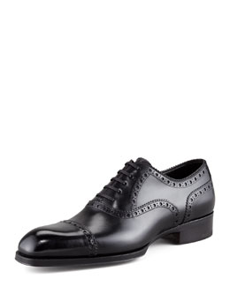 Tom Ford Edward Brogue-Trim Oxford, Black