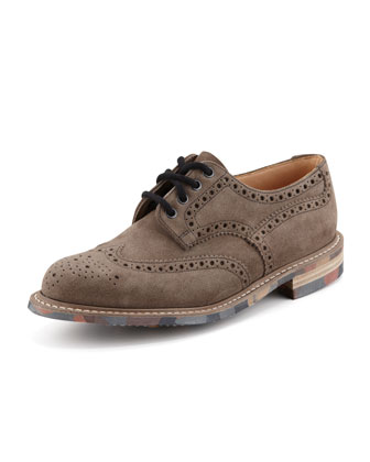 Folden II Suede Wing-Tip Oxford, Smoke