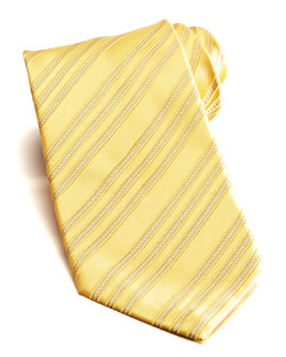 Stefano Ricci Bias Stripe Silk Tie, Yellow