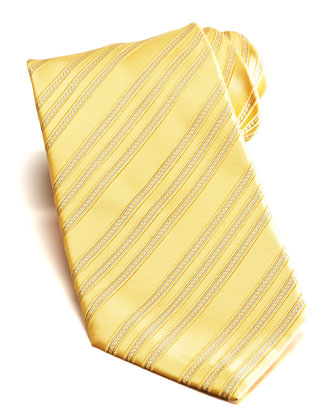 Bias Stripe Silk Tie, Yellow