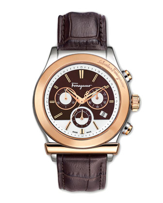 Croc-Embossed Chronograph Watch, Brown