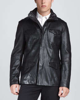 John Varvatos Leather Military Jacket