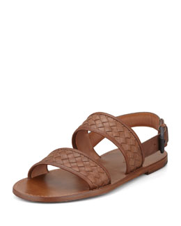 Bottega Veneta Woven Two-Strap Sandal, Brown