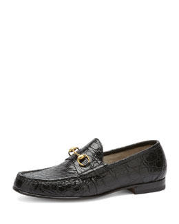 Gucci Roos Crocodile Horsebit Loafer