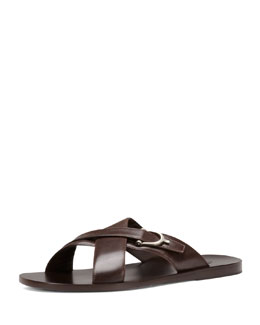 Gucci Karel Leather Crisscross Slide Sandal