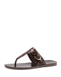 Gucci Karel Crocodile Thong Sandal