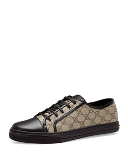 Gucci California GG PU Fabric Low-Top Sneaker, Beige/Black