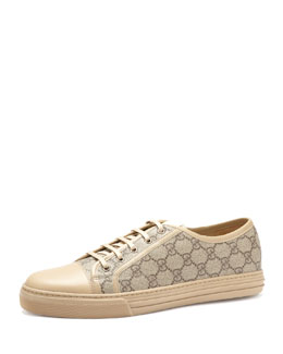Gucci California GG PU Fabric Low-Top Sneaker,Beige/Ebony/Cream