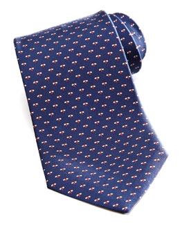 Salvatore Ferragamo Micro-Bee Silk Tie, Navy