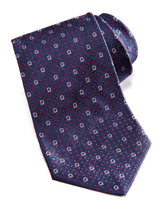 Gancini/Dot Silk Tie, Navy/Red