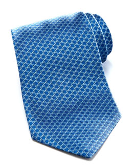 Salvatore Ferragamo Geometric Silk Tie, Blue
