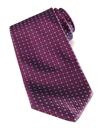 Micro-Flower Silk Tie, Purple