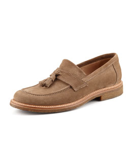 Brunello Cucinelli Suede Tassel Loafer, Tan