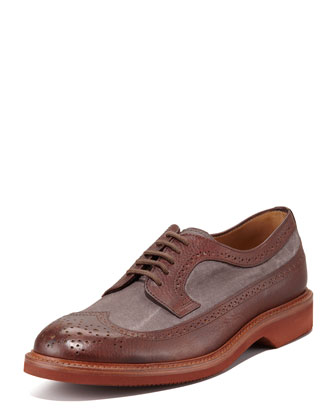 Two-Tone Canvas/Leather Lace-Up Wing-Tip
