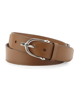 Gucci Stirrup-Buckle Leather Belt, Tan